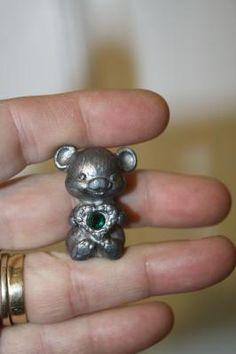 "Pewter bear with green gem $7.50 1 1/4"" Intaglow 1991"