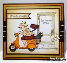 Scooter-Granny-Cat-& words born to be wild. The door and words comes in another set. Click on picture & it will take you into this listing in my Ebay Store. Made by Art Impressions Rubber Stamps . The Items can be purchased in my ebay Store Pat's Rubber Stamps & Scrapbooks or call me 423-357-4334 with order. We take PayPal. You get free shipping with the phone orders of $30.00 or more