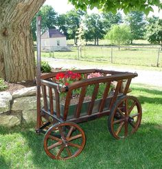 Amish Wooden Goat Wagon - Small Rustic - Our Amish Old Fashioned Replica Goat Wagon Rustic Small is the perfect showcase for your flower garden or front porch! This can also be used in weddings, events, shows as a display. Fully functional for hauling wood and leaves as well.