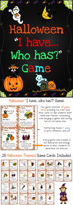 Halloween I Have, Who Has Game - This Halloween game is big enough to be used as a class but can also be used for small group, centers, morning warm-up, etc. This is a fun game that can be used during Halloween to help students recognize common Halloween vocabulary while playing a fun game at the same time.  There are a total of 28 game cards included in this resource. $$