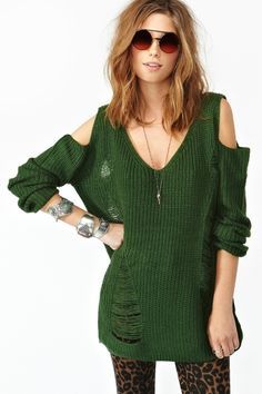 Shredded Cutout Knit