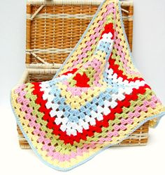 love these colors together!  Crochet Baby Blanket Granny Square Crochet Baby by HopscotchLane