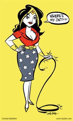 "Wonder Woman ""where's my jet?!"" pin up."