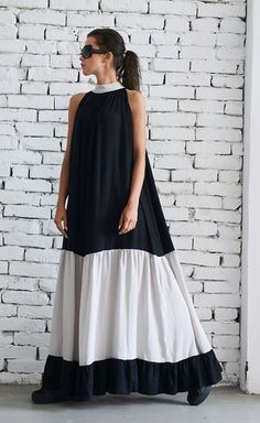 VENTE noir et Beige longue robe/sans manches Maxi noir Beige