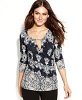 INC International Concepts Printed Keyhole Faux-Wrap Top