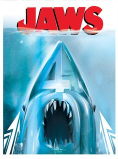 It's the anniversary of Jaws, and this artist took some time to commemorate the classic film. Jaws Movie Poster, Movie Posters, Scary Movies, Good Movies, Up Book, Great White Shark, Hai, Nightmare On Elm Street, Geek Art