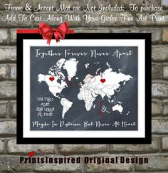 Long Distance Relationship: For Map Lovers, Quotes Personalized US Gifts Custom Hearts Unique For Boyfriend Girlfriend Fiance on Etsy, $23.99