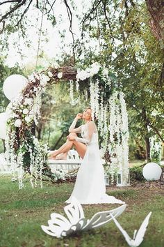 10 Giant Wedding Wreaths: The Hottest Wedding Trend: An oversized grapevine wreath with greenery and white blooms used as a swing. Wedding Swing, Boho Wedding, Wedding Ceremony, Wedding Flowers, Wedding Venues, Wedding Photos, Dream Wedding, Wedding Bride, Wedding Arches