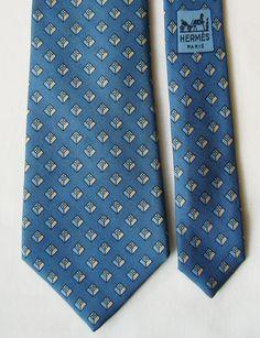 Vintage Hermes Silk Necktie w/ Geometric Raised H Cube Pattern - Royal Blue, Blue Tones, Ivory - 914 HA - Tie