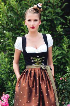 Dirndl Larissa kupfer-schwarzes Mididirndl mit kupferfarbener Schürze
