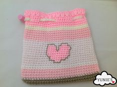 Drawstring Pouch : Pink Love draw string Pouch with by Yunies #HEPTEAM