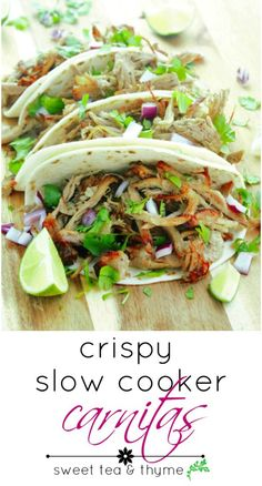 Carnitas are easy, simple and full of flavor. Throw in the slow cooker before work, come home and just put under the broiler for crispy, delectable, tangy and savory carnitas that are ready for Taco Tuesday!
