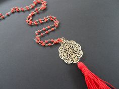 Red Long Rosario necklace with gold Pendant by marizasShop on Etsy