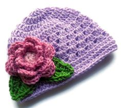 Crochet baby Hat, Baby Girl Beanie Hat with Flower and Leaves,  Lavender, Rose Pink, Green, MADE TO ORDER