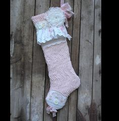 Christmas Stocking Vintage Pink Chenille Shabby Chic Baby Girl on Etsy, $55.00