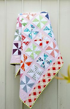 Denyse Schmidt fabric from Joann's and pinwheel quilt pattern by Red Pepper Quilts