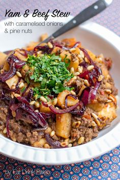 Yam and Beef Stew with Caramelised Onions and Pine Nuts - paleo, gluten-free, one-pot dish, easy. It's hearty and comforting! Other root vegetables can be used instead of yams and lamb or turkey can be used instead of beef.