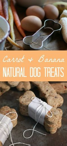 Homemade Natural Carrot and Banana Dog Treat bones.