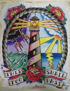 """Traditional Tattoo Watercolor fine art print , Alcoholics Anonymous, """" This too shall pass"""" by SquareOneArts on Etsy Traditional Tattoo Octopus, Traditional Lighthouse Tattoo, Traditional Tattoo Design, Traditional Tattoos, Yantra Tattoo, Storm Tattoo, Sailor Jerry Tattoos, Old School Tattoo Designs, Tatuagem Old School"""