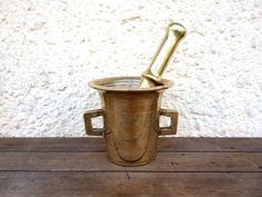 Large Mortar And Pestle, Brass Pestle And Mortar by MonsieurRenardsAttic
