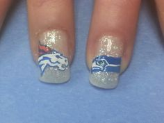 Nail art:  Seattle Seahawks vs Denver Broncos in the Superbowl, who's it gonna be?