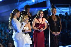 (L-R) Dinah Jane and Ally Brooke of Fifth Harmony, Gucci Mane, Lauren Jauregui and Normani Kordei of Fifth Harmony accept the Best Pop award for 'Down' onstage during the 2017 MTV Video Music Awards at The Forum on August 27, 2017 in Inglewood, California.