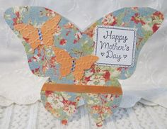 Handmade Butterfly Shaped Mothers Day Card Blue and Salmon | luvncrafts - Cards on ArtFire