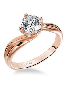 Classic diamond solitaire rose gold engagement ring with round center stone set in a twist setting I Style: 31-V303ERR I by ArtCarved I http://knot.ly/6497B2JND
