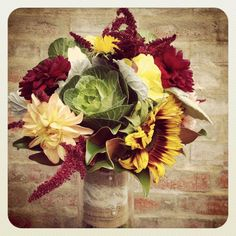 My beautiful November wedding bouquet courtesy of Local Color Flowers  in Baltimore, MD!  (sunflowers, burlap, country, unique,dusty miller, lace, cabbage, shabby chic, rustic, love, fall, November, October, bridesmaid, flowers, beautiful)