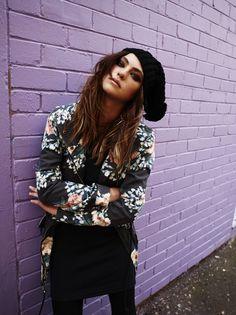 #girl #beanie #purple #brick #wall #jacket #style #fashion #clothing