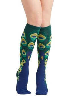 Peacock This Way Socks. Its no coincidence that youre feeling bold and beautiful this morning in these knit, peacock-patterned socks! #blue #modcloth