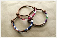 Thread-wrapped suede cord bracelet tutorial