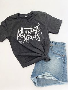 Adventure Awaits T-Shirt This t-shirt is Made To Order, one by one printed so we can control the quality. Travel Shirts, Hiking Shirts, Casual Fall Outfits, Shirt Style, Graphic Tees, Shirt Designs, Tee Shirts, Adventure Awaits, Adventure Quotes