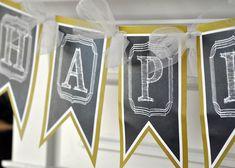 Chalkboard Birthday Banner Banner 40th Birthday by GracenLDesigns