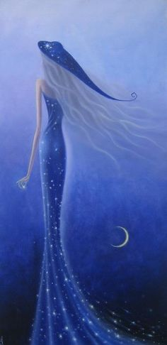 moon and stars illustration Dream Painting, My Sun And Stars, Love Blue, Periwinkle Blue, Color Blue, Blue Moon, Love Art, Shades Of Blue, Amazing Art