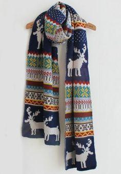 Vintage Deer Snowflake Pattern Scarves