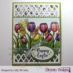 Golden Inkspirations: Looking Back at the Divinity Designs February 2019 Release Spring Colors, Spring Flowers, Center Step Cards, Tulips Garden, Penny Black, Make Your Mark, Looking Back, Happy Easter, Scrapbook Pages