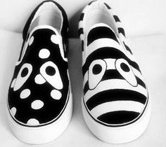Black and white painted canvas shoes