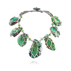 Lydia Courteille necklace in 18k gold with brown diamonds, tsavorites and turquoise.