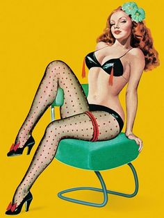 Pinup Girl Redhead With Tassels On Bra Poster