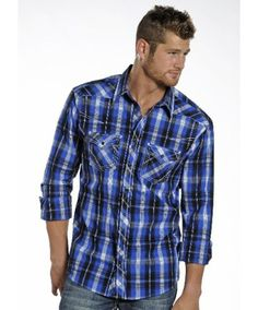 39b09909 Rock & Roll Cowboy Men's Blue Plaid Long Sleeve Snap with X Stitching  Country Outfits