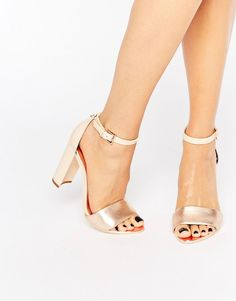 Image 1 of Ted Baker Pink Metallic Block Heel Sandals