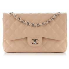 9f553a8ff139 CHANEL Caviar Quilted Jumbo Double Flap Beige Clair ❤ liked on Polyvore  featuring bags, handbags