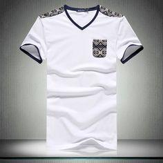 Summer v-neck t-shirt men short sleeve casual fashion