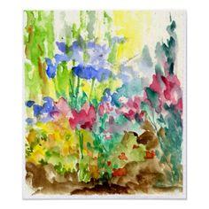Sun Dappled Watercolor Flower Garden Print #watercolor #flowers #art #print #zazzle