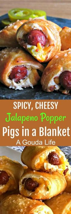 Jalapeno Popper Pigs in a Blanket recipe ~ A Gouda Life- Jalapeno Popper Pigs in a Blanket ~ smoked cocktail sausages wrapped in warm, flaky, golden crest dough, filled with 2 kinds of cheese, spicy jalapenos and crispy bacon. Spicy Appetizers, Finger Food Appetizers, Appetizers For Party, Finger Foods, Appetizer Recipes, Parties Food, Jalapeno Poppers, Smoked Cocktails, Cocktail Sausages