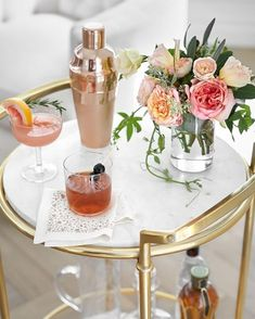 Monique Lhuillier, Pottery Barn, Metal Bar Cart, Marble Shelf, Festive Cocktails, Good Times Roll, Free Interior Design, Creative Decor, Sophisticated Style