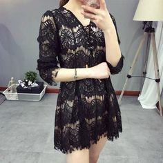Casual Black Patchwork Lace Hollow-out V-neck Dacron Mini Dress Floral Dress Outfits, Women's Fashion Dresses, Dresses Dresses, Cheap Dresses, Casual Dresses, Casual Outfits, Cheap Clothes Online, Lace Skirt, Clothes For Women
