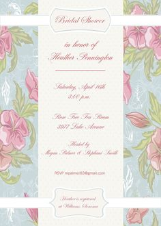 Hey, I found this really awesome Etsy listing at https://www.etsy.com/listing/120013659/flowers-bridal-shower-invitation-vintage