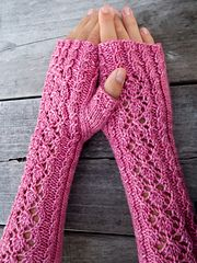 Ravelry: Fifth Avenue pattern by Gabriella Henry. Long lacy fingerless mitts inspired by Audrey Hepburn. A challenging knit for that lovely skein of silk/merino you have been saving for something special. Crochet Gloves Pattern, Crochet Mittens, Knit Crochet, Crochet Hats, Crochet Ideas, Knitting Stitches, Knitting Designs, Knitting Patterns, Wrist Warmers